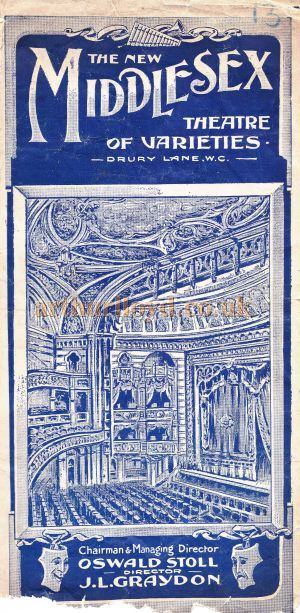An early variety programme for the Middlesex Theatre of Varieties - Courtesy Roy Cross.