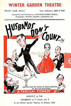 Programme for 'Husbands Don't Count' at The Winter Garden Theatre on the 1st of October 1952