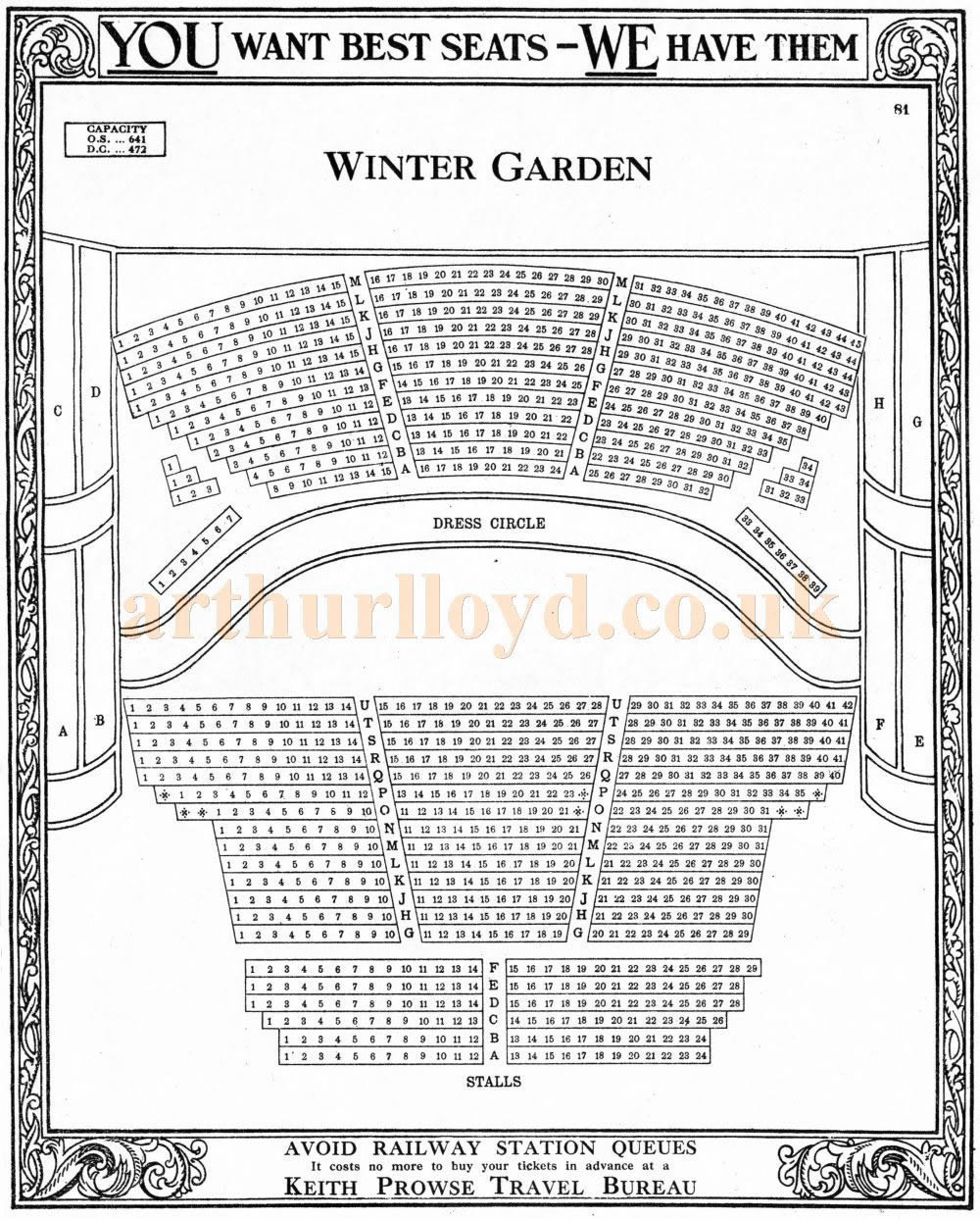 A Seating Plan for the Winter Garden Theatre, Drury Lane from the pre-computerised days of manual ticketing - Courtesy Martin Clark and Doreen Gould.