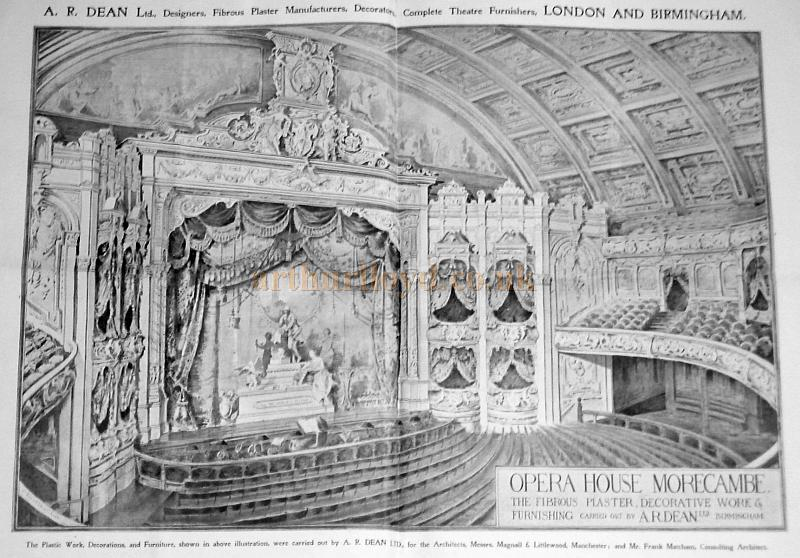 A page from the catalogue of Dean and Co who were theatre decorators, providing plasterwork, seating, drapes and most other decorative items to make your theatre look its best. This shows their work at Morecambe's Winter Gardens' Victoria Pavilion Theatre, note the Opera House name which was never actually used, however the architects and the fact that Matcham was only the Consultant Architect are confirmed - Courtesy Roger Fox.