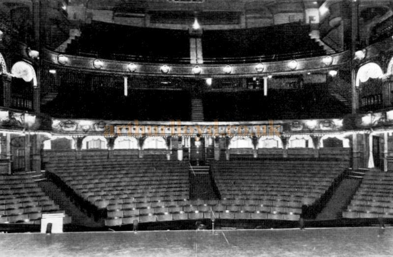 Caption Reads: - The auditorium of the London Hippodrome as it appears to-day. The alterations were first carried out in 1909, when armchair stall seats were placed in the old arena.
