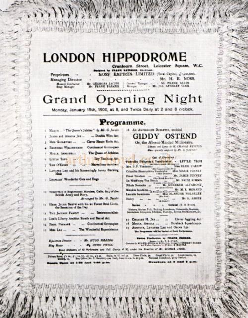 A copy of the opening night silk programme for the London Hippodrome on January 15th, 1900 for a production of 'Giddy Ostend'.