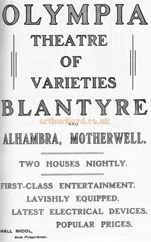 Motherwell Alhambra and Blantyre Olympia advert 1912 - Courtesy Graeme Smith.