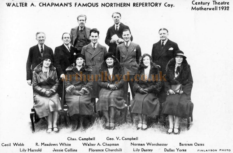 Walter A Chapman`s Northern Repertory Company of 1932 - Courtesy Graeme Smith.