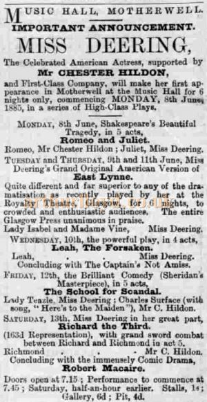 A Motherwell Times advertisement of Miss Deering and Company appearing in the Music Hall in June 1885 - Courtesy Graeme Smith.