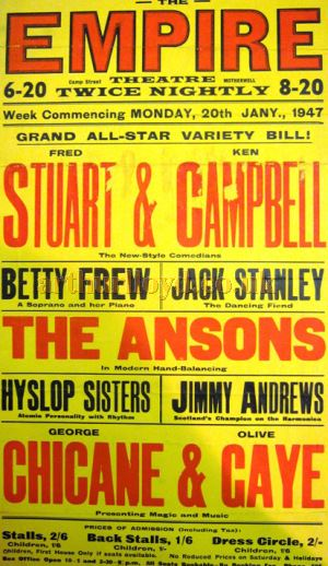 A Motherwell Empire Variety Playbill from 1947 - Courtesy Bob Bain.