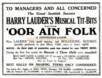 A Motherwell Harry Lauder Tit Bits advert from 22nd November 1923 - Courtesy Graeme Smith.