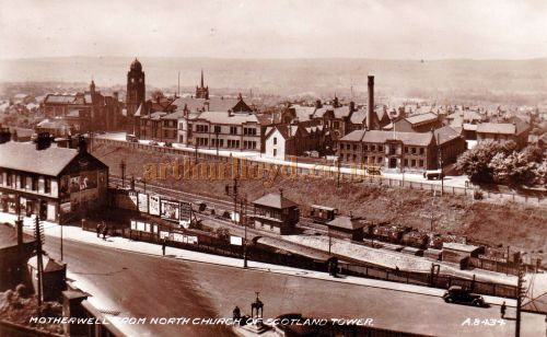 A Postcard view of Motherwell which shows the Town Hall with its domed tower - Courtesy Graeme Smith.