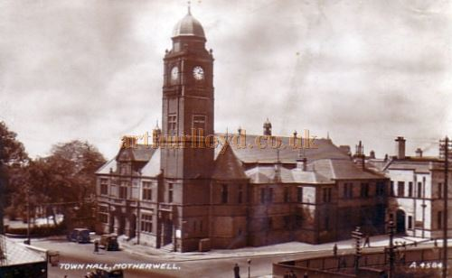 "An early postcard view of the exterior of Motherwell Town Hall where Arthur Lloyd appeared on 20th September 1895 in ""Two Hours Fun"" The World Renowned Comedian, Vocalist, Author and Composer, before going to Shotts and then West Calder the following week - Courtesy Graeme Smith."