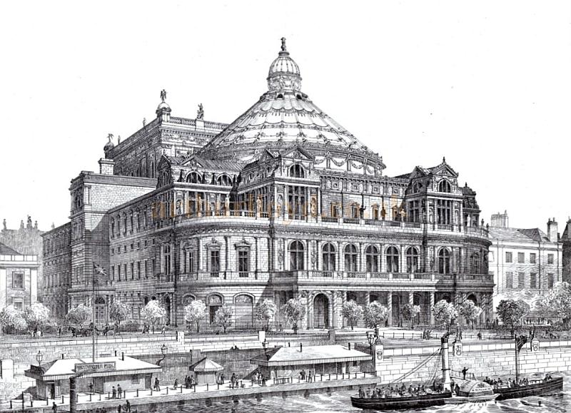 An engraving of the proposed National Opera House, Embankment by the architect F. H Fowler - From 'The Building News, October 20th 1876