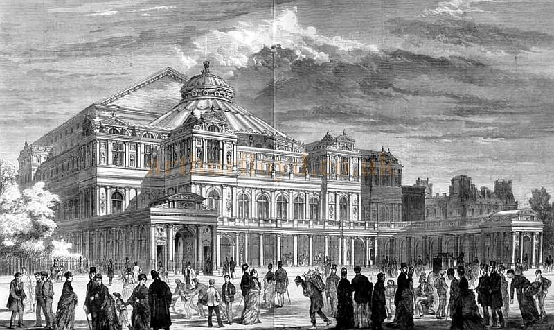 An engraving of the proposed National Opera House, Embankment, this time from 'The Graphic' of 1875