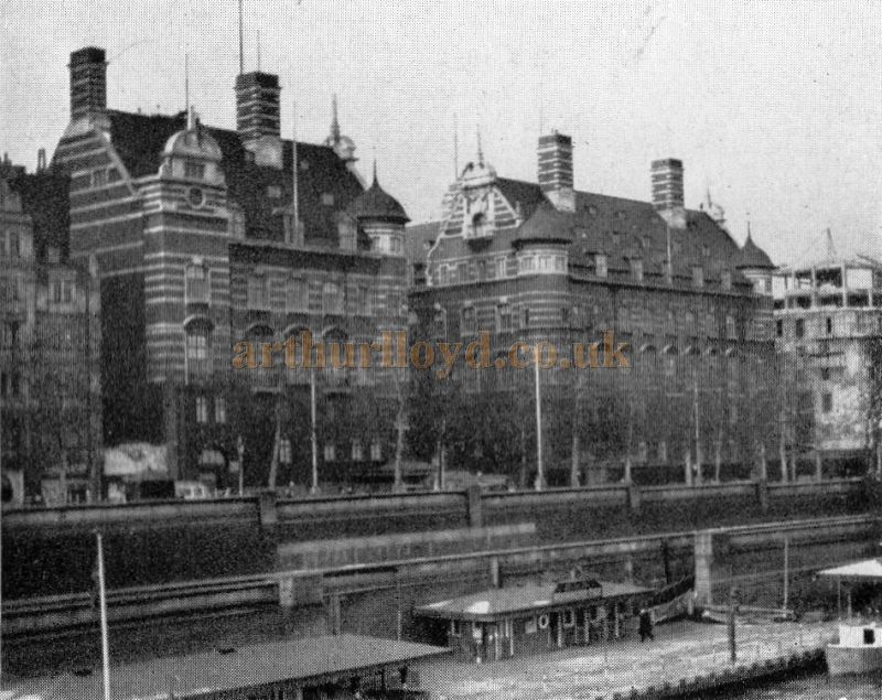 Scotland Yard from the river in 1950, built on the site of the uncompleted National Opera House - From 'The Face Of London' by Harold P. Clunn 1956