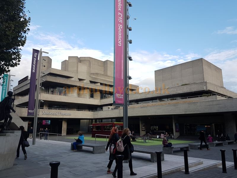 The National Theatre's restored riverside frontage in September 2017, after the removal of the former temporary Shed Theatre in the summer of 2016.