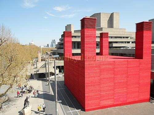 A photograph of the National Theatre's temporary 'Shed Theatre' in May 2013 - Photo M.L.