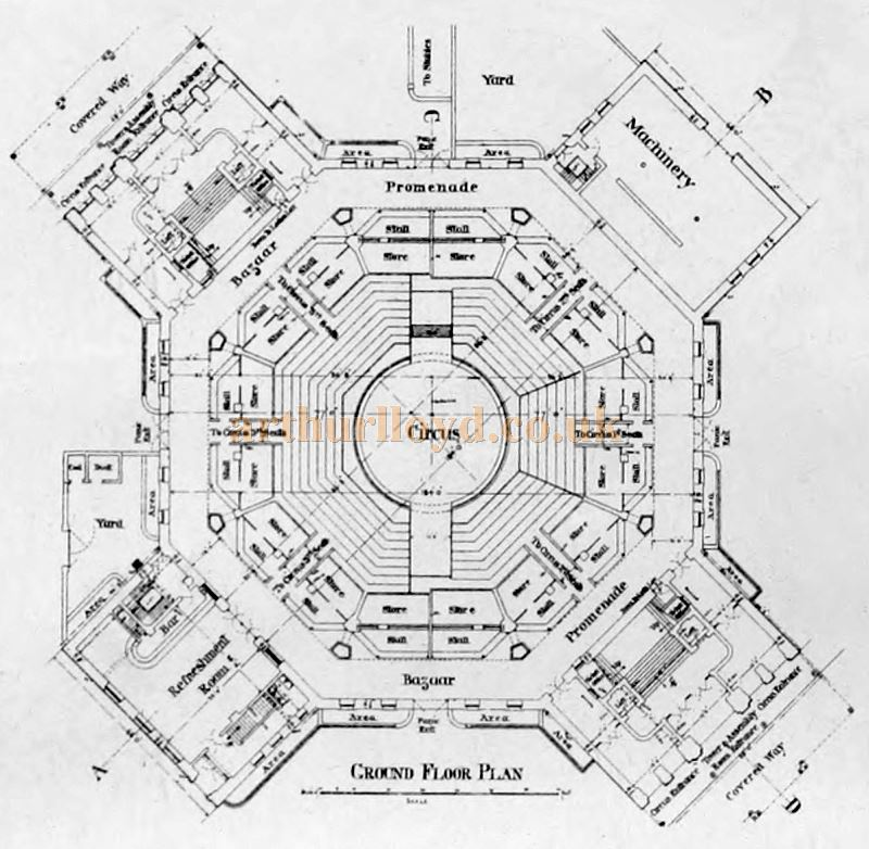A Ground Floor Plan of the New Brighton Tower - From the Building News and Engineering Journal of December the 29th 1899.