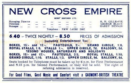 Ticket prices from a Variety programme for the New Cross Empire in February 1935 - Courtesy Roy Cross.