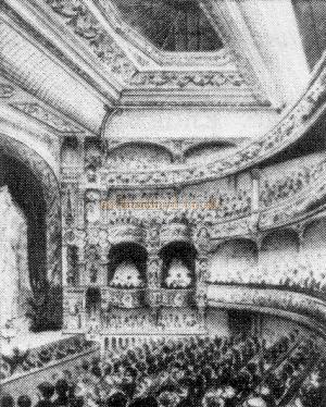 The Auditorium of the New Cross Empire as it looked when it first opened in 1899 - From a poster advertising the opening night.