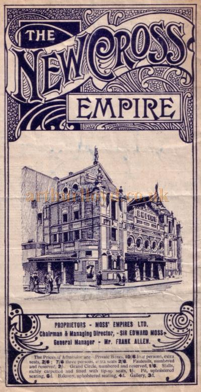A variety programme for the New Cross Empire for the 5th of June, 1911