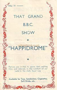 Detail from a 1948 Variety Programme advertising the forthcoming BBC 'Happidrome' Radio show to be performed at the New Cross Empire.