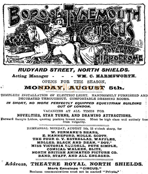 An advertisement for the Boro' of Tynmouth Circus & Novelty Hippodrome, North Shields carried in the Stage Newspaper, 1st August 1901.