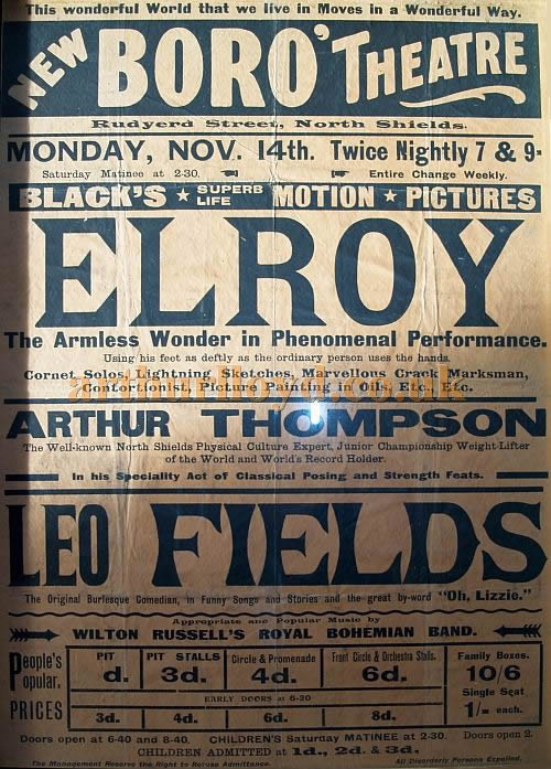 A Poster for the New Boro' Theatre, North Shields for November the 14th 1910 - Courtesy Jack Thompson