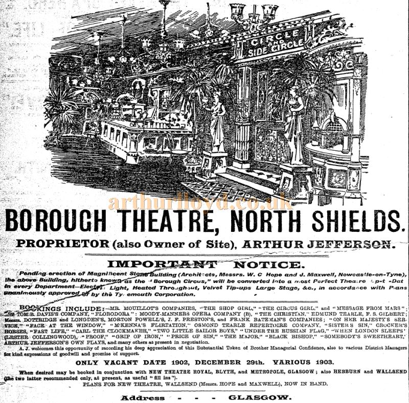 An advertisement for the new Borough Theatre, North Shields carried in the Stage Newspaper, 3rd of April 1902