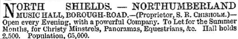 An advertisement for the Northumberland Music Hall, North Shields - From the ERA, 16th April 1876