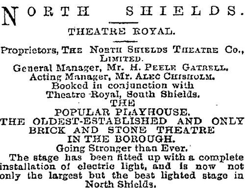An advertisement by the North Shields Theatre Company Ltd., for the Theatre Royal, North Shields in 1903 - From The Stage Newspaper, January 15th 1903.