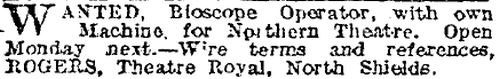 Bioscope Add - The Stage,  May 14, 1908