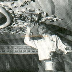 The late Osborne Robinson, repainting the Royal Theatre's ceiling circa 1960 - From a publicity handout of the then Northampton Repertory Co. (Circa 1970) - Courtesy Alan Chudley.