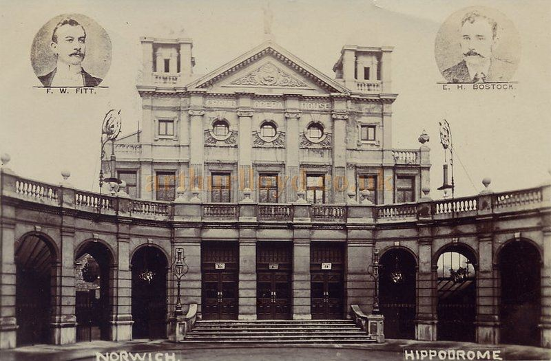 An early postcard showing the Grand Opera House, Norwich, later the Norwich Hippodrome - Courtesy Maurice Friedman, British Music hall Society.