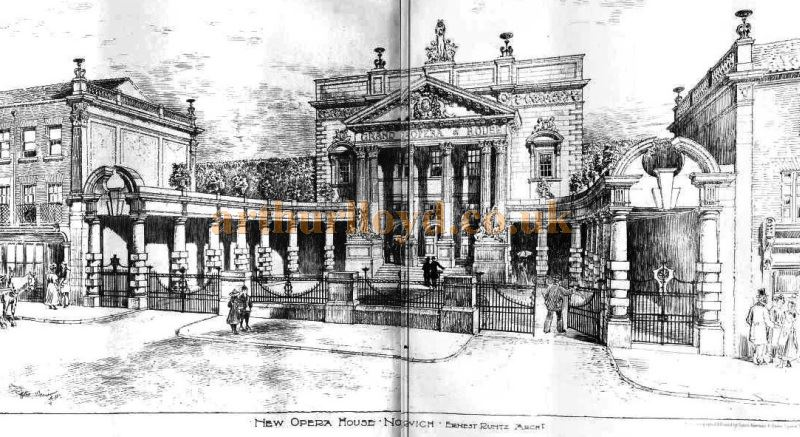 Ernest Runtz's original 1899 design for the Norwich Grand Opera House - From the Building News and Engineering Journal of October 1899. The Theatre was eventually constructed to the designs of W. G. R. Sprague in 1903.