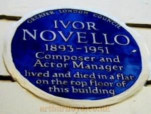 Blue Plaque Dedicated to Ivor Novello at the Novello Theatre - Courtesy Charles Jenkins