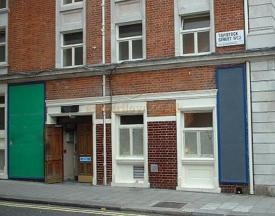 The Stage Door of the Strand Theatre in 2005 on Tavistock Street during renovations and conversion to the Novello Theatre. - Photo M.L.