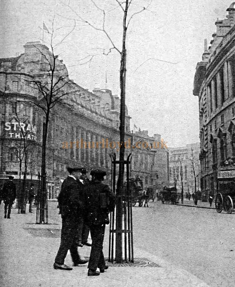 A photograph showing the Strand Theatre, Waldorf Hotel, and Aldwych Theatre - From the book 'Things seen in London' published in 1920.
