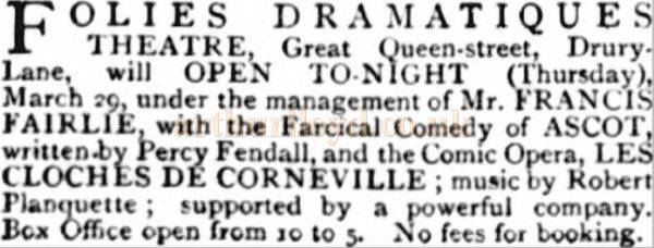 An Advertisement for the opening of the Folies Dramatique Theatre - From the St. James's Gazette, Thursday 29th of March 1883.