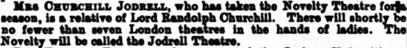 A newspaper cutting about the Jodrell Theatre - From 'The Queen' Saturday October the 6th 1888.