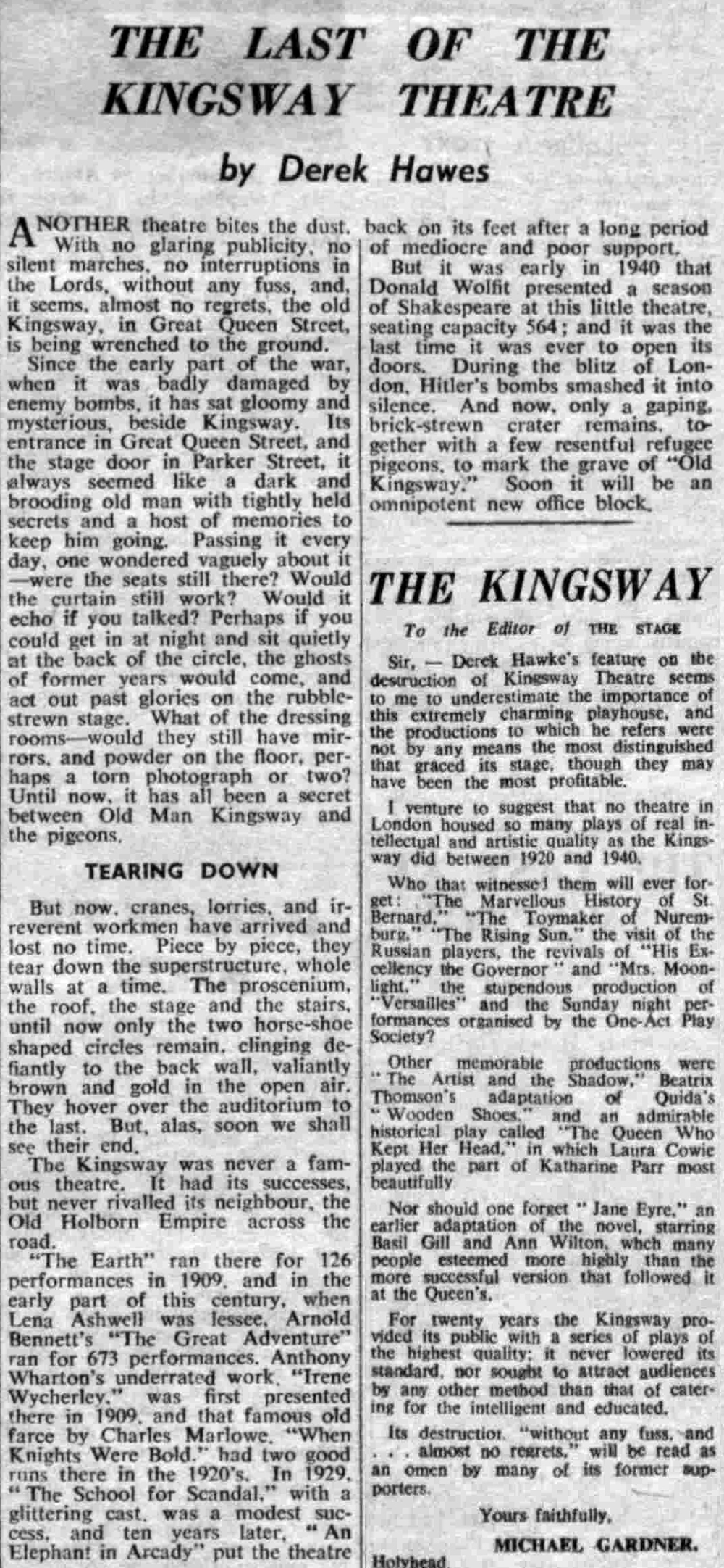 An Article from the Stage Newspaper of the 22nd of January 1959 on the demolition of the Kingsway Theatre, and a letter in response published in the Stage, 19th of February 1959 .