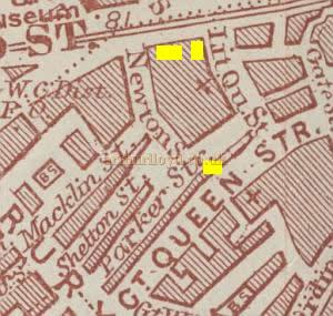 Map of Holborn before Kingsway was constructed over Little Queen Street, showing the position of the Novelty Theatre, The Holborn Restaurant and the Embassy Theatre. - From 'The Fascination of London / Holborn and Bloomsbury' by Sir Walter Besant 1836-1901.