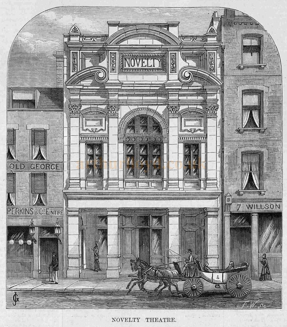 The Novelty Theatre, Great Queen Street, Holborn - From a wood engraving in the Illustrated Sporting and Dramatic News of the 7th of October 1882.