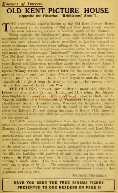 An Old Kent Picture House article - From the Weekly Kinema Guide of January 26th 1930.