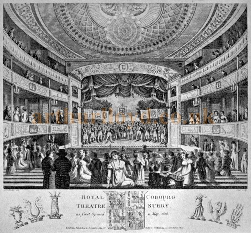 The auditorium and stage of the Royal Coburg Theatre when it first opened in 1818 - From the book 'A Century of Theatrical History 1816 - 1916' by John Booth 1917.