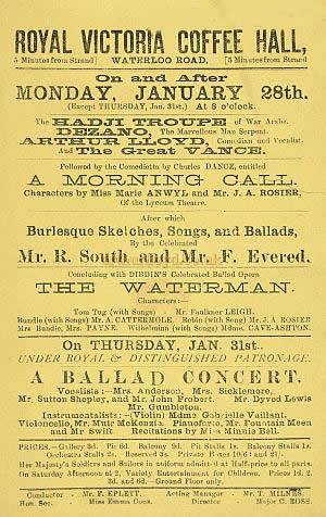 A Bill for the Royal Victoria Coffee Hall in 1884 with Arthur Lloyd appearing - Courtesy the British Library.