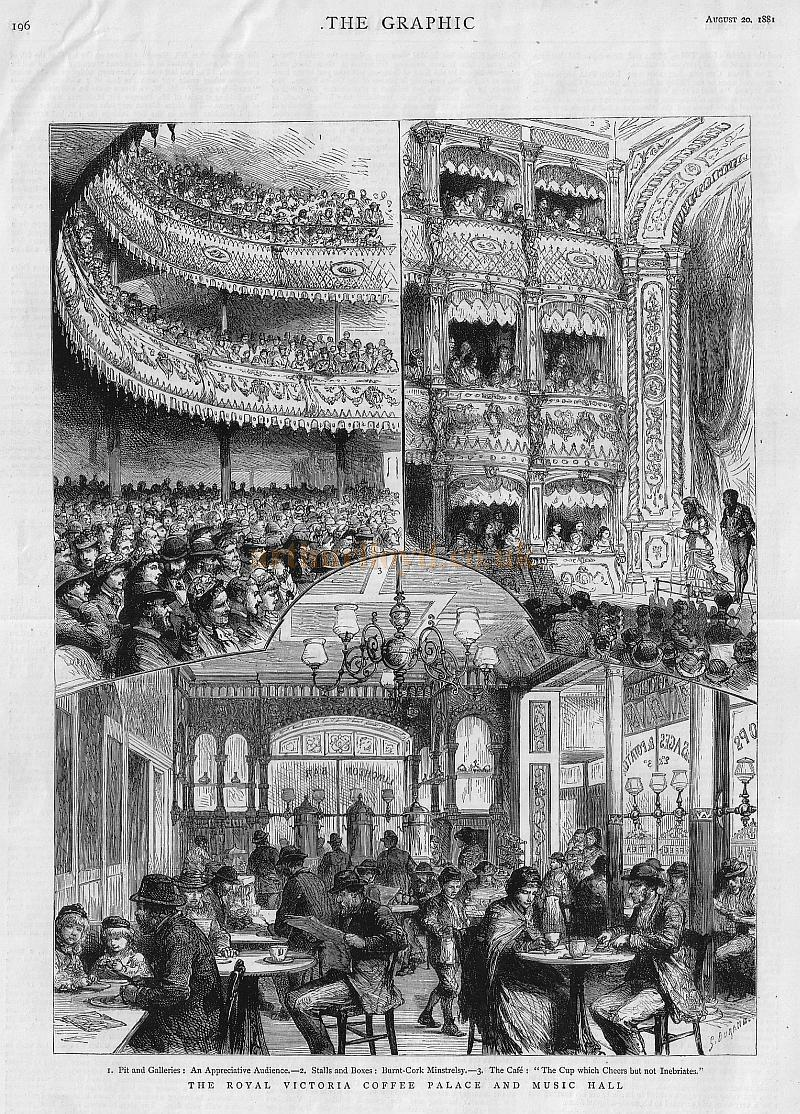 Images of the Royal Victorian Hall and Coffe Tavern / Now the Old Vic - From 'The Graphic' August 20th 1881