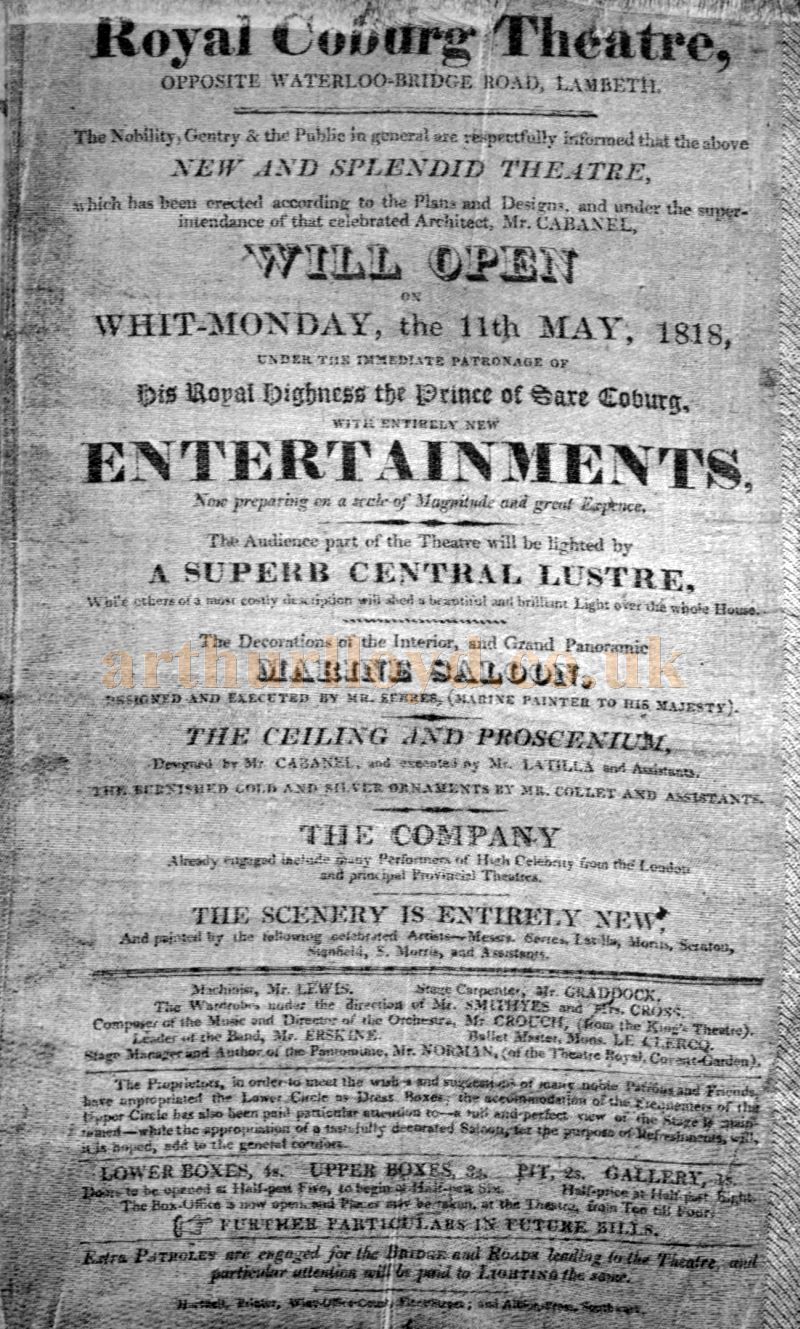 An Opening Advertisement for the Royal Coburg Theatre in 1818 - From the book 'A Century of Theatrical History 1816 - 1916' by John Booth 1917.
