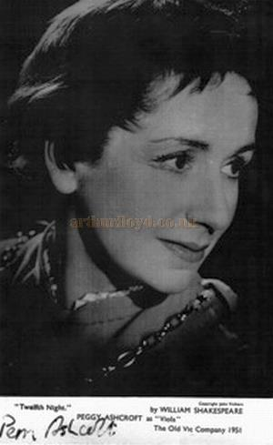 A signed photograph of Peggy Ashcroft as Viola in 'Twelfth Night' at the Old Vic Theatre in 1954 - Courtesy Marianne Macdonald.