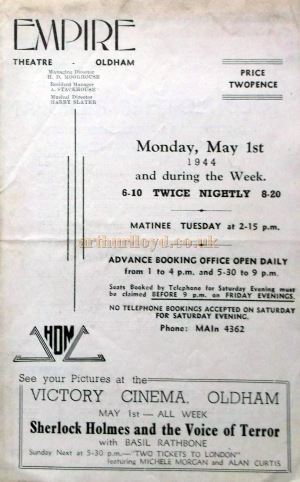 A Programme for Old Mother Riley and her Daughter Kitty at the Oldham Empire in May 1944 - Courtesy Roy Cross.