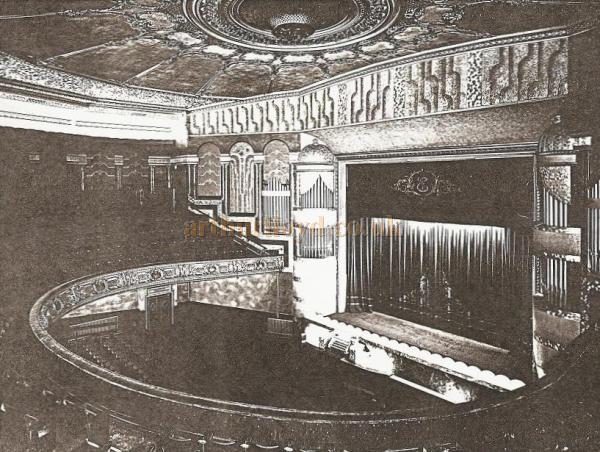 The auditorium of the Oldham Empire after it had been repainted by Heywoods. In the ceiling's centre can be seen a gas burner and fog remover - Image Courtesy Alex Balmforth.