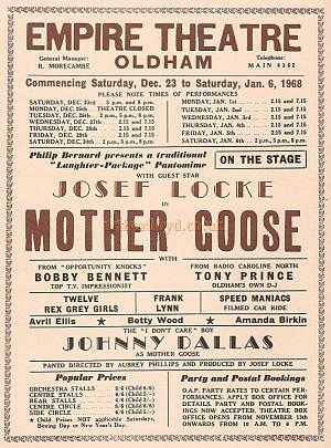 A programme for 'Mother Goose' at the Oldham Empire in January 1968 - Courtesy Alex Balmforth.