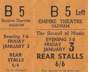 A ticket stub for the production of 'The Sound of Music' at the Oldham Empire - Courtesy Alex Balmforth.